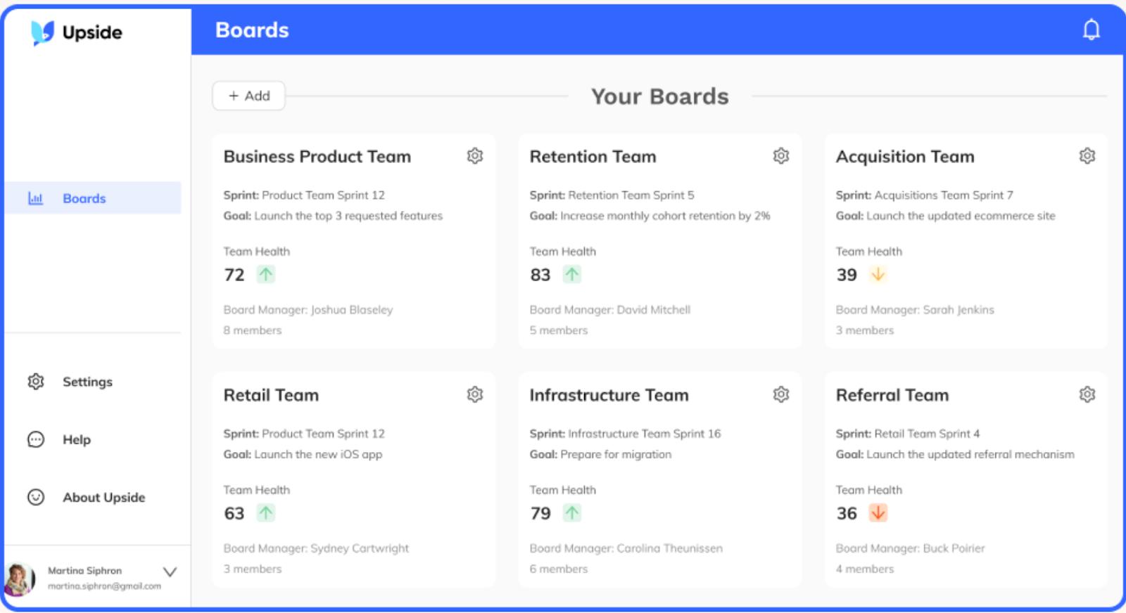 Screenshot of Boards page of the Upside analytics platform