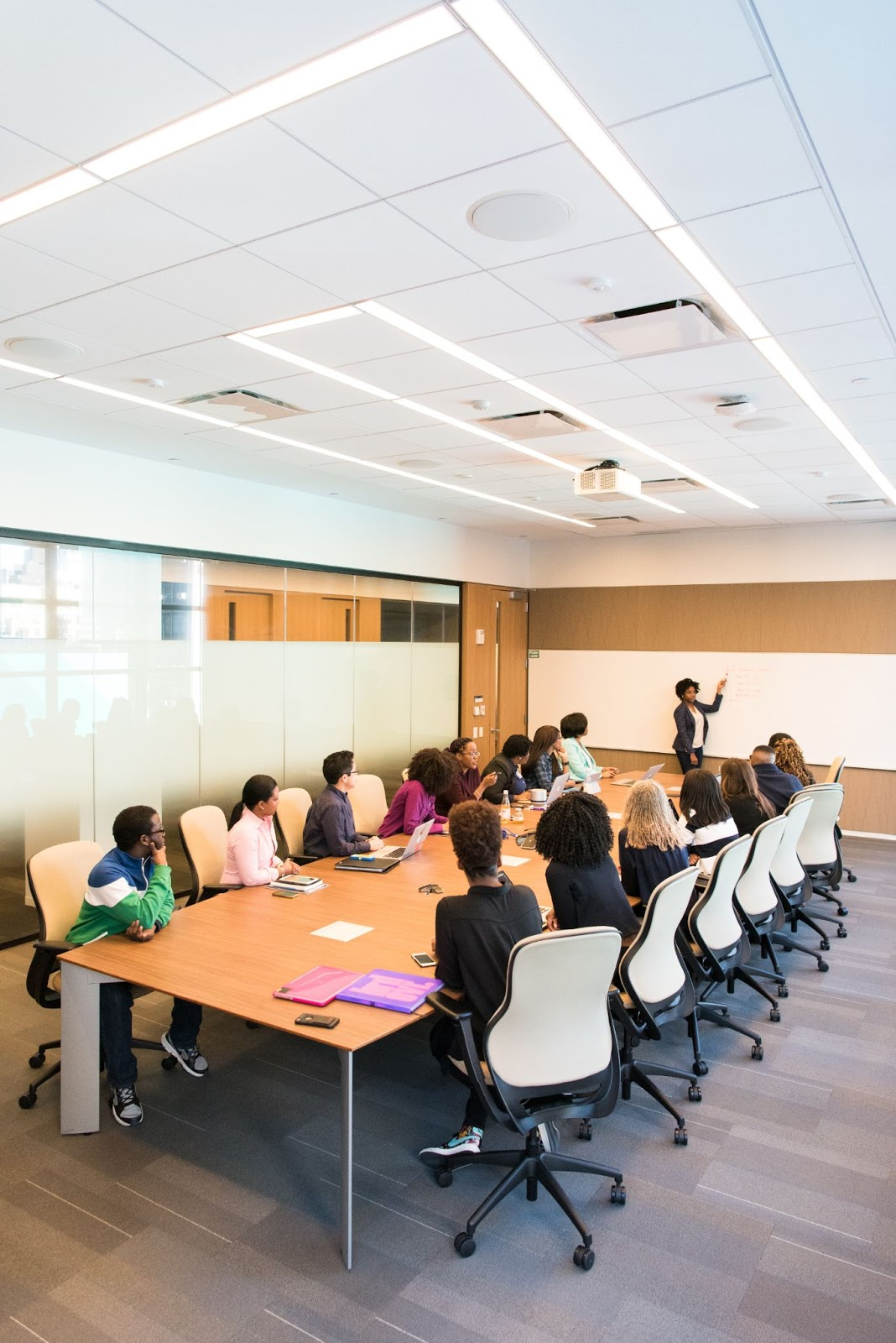 Group of employees in meeting watching management make presentation