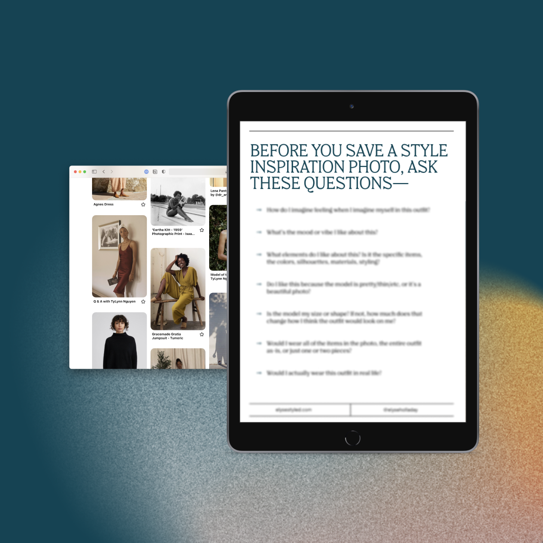 banner showing the Style Inspiration Questions free guide on an iPad