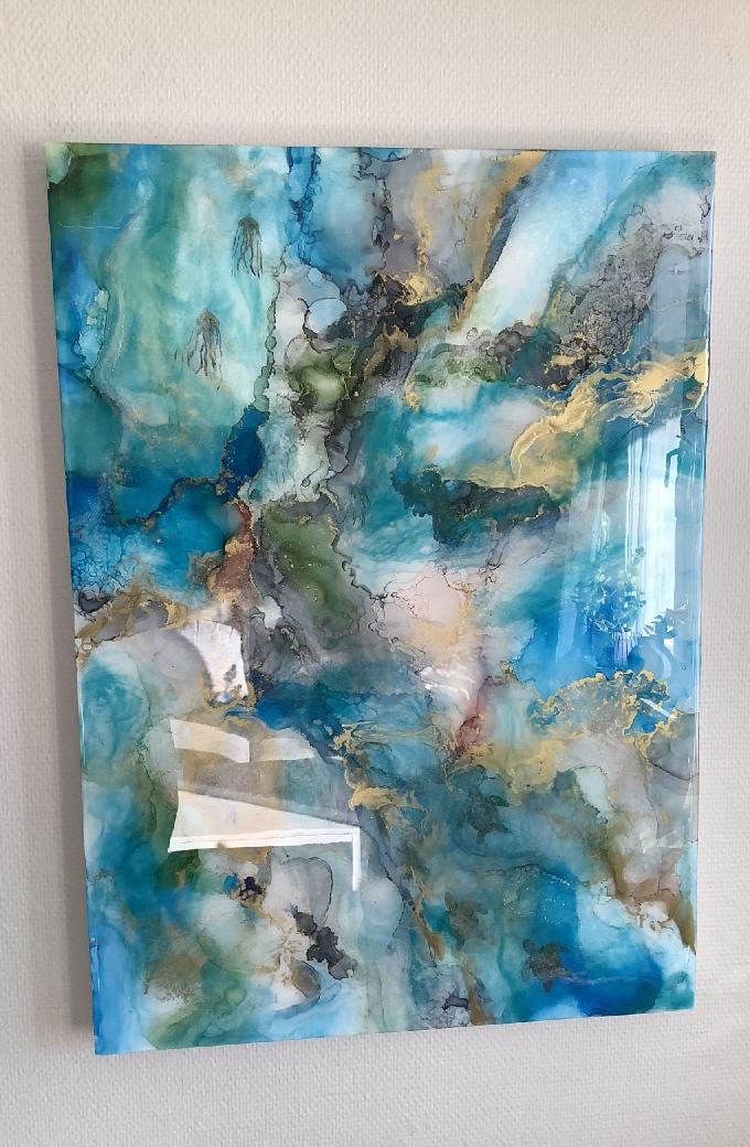 Abstrakt målning havstema
