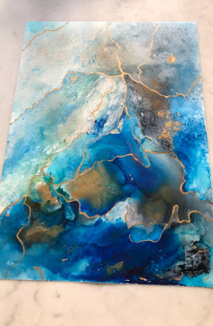 abstrakt resin målning