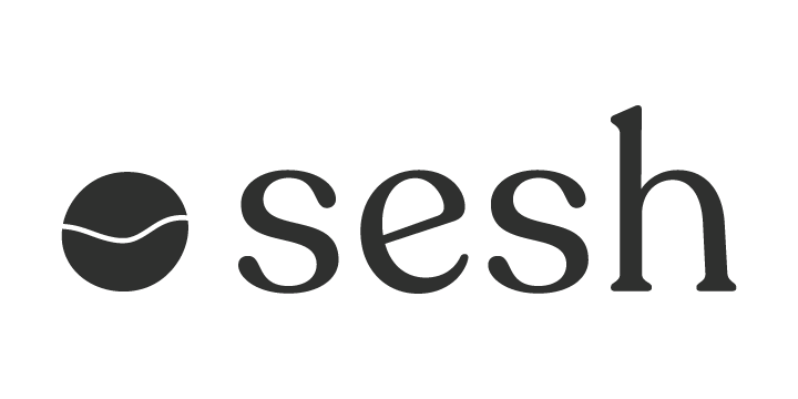 "Sesh Logo, a circle with a wavy line cutting through the middle, and the word ""sesh"" in lowercase letters - in charcoal color"