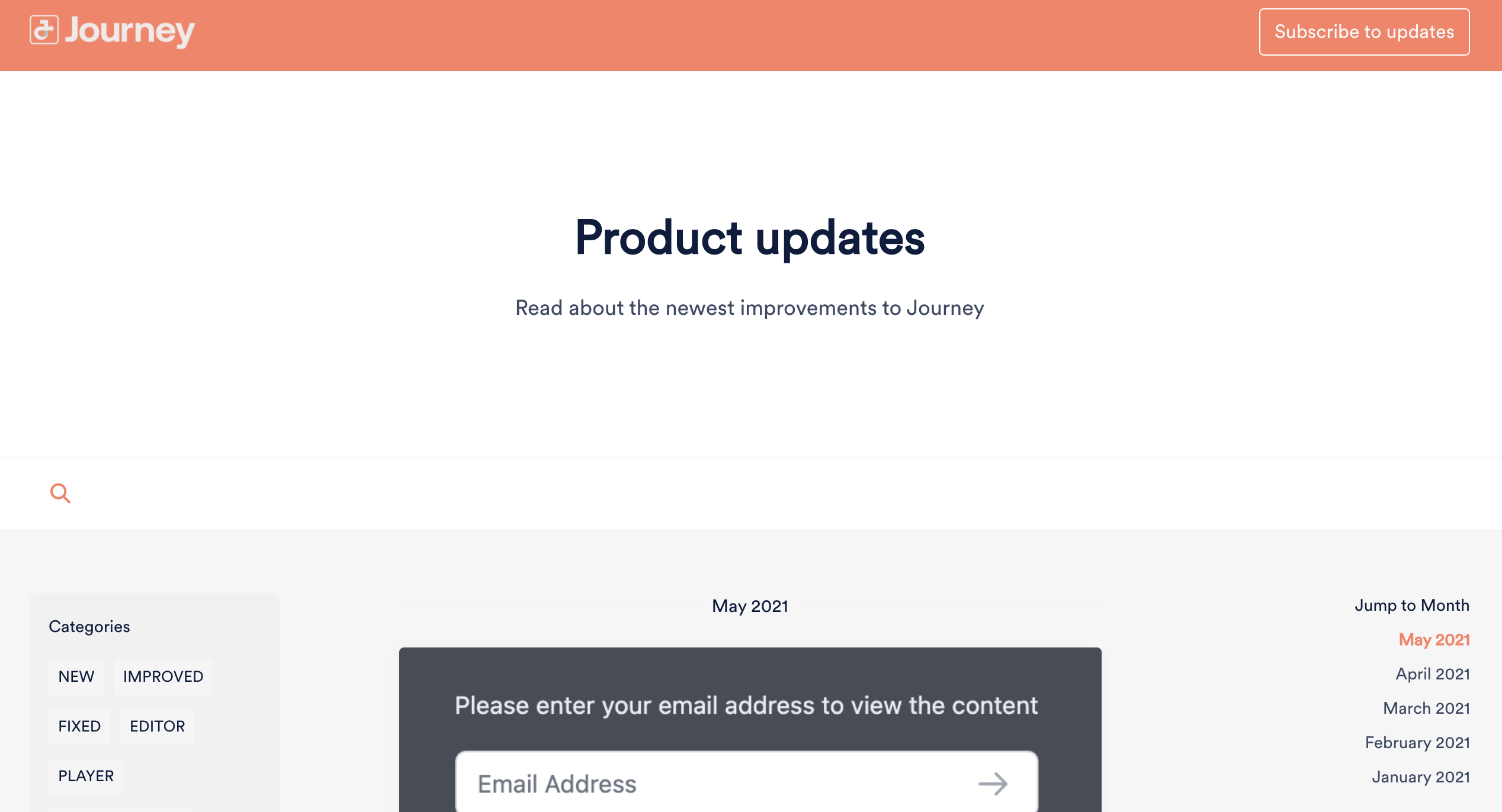 Using Journey to communicate Product Updates