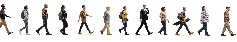 Image of a line of random people walking forward
