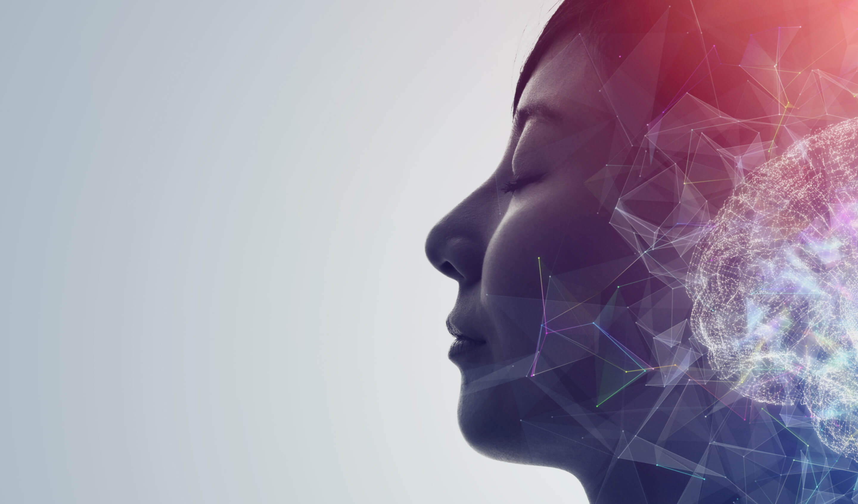 Abstract image of a woman's face overlaid with a gradient of color and neural network pathways