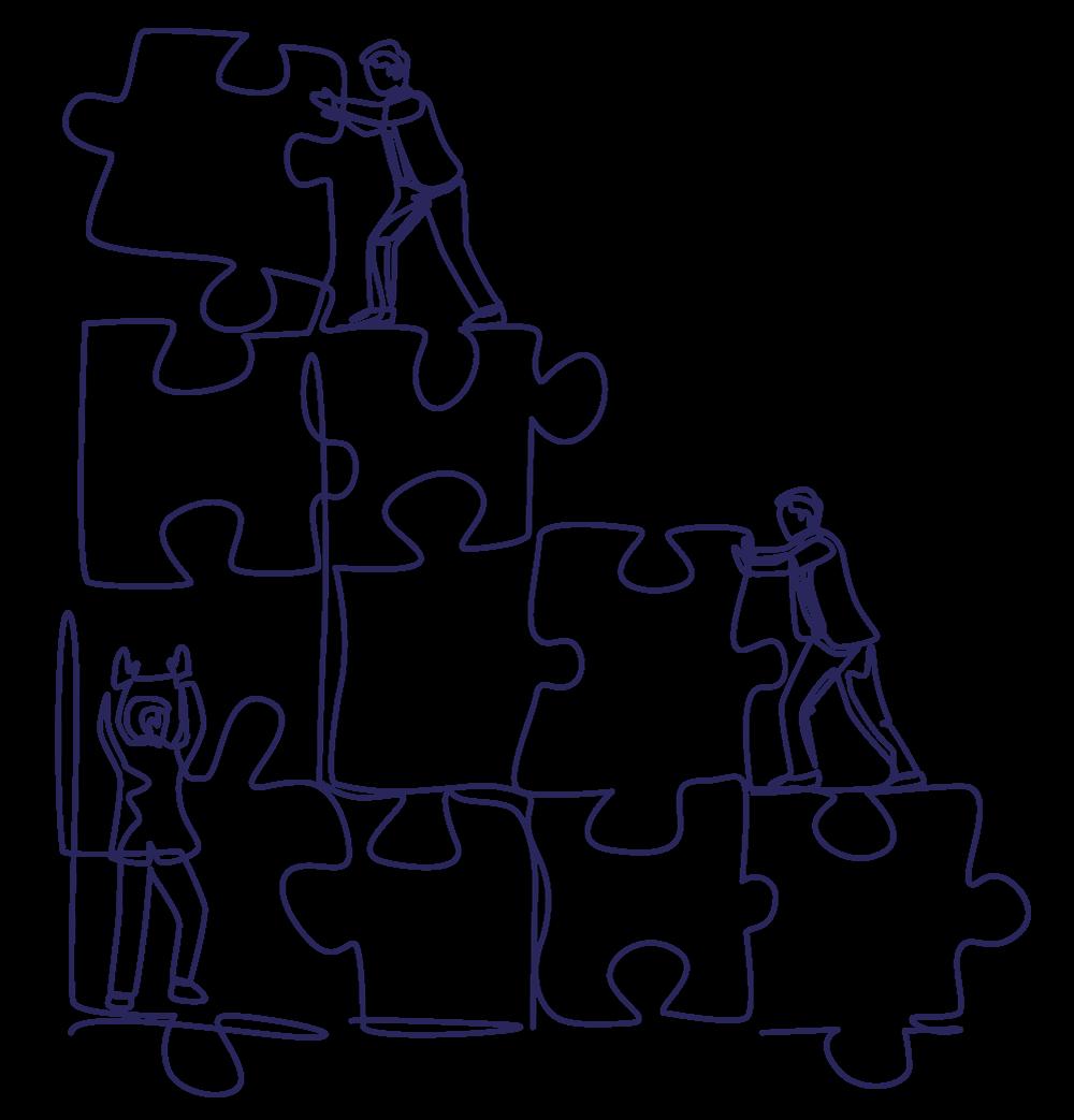 Puzzle présentant les thématiques RH