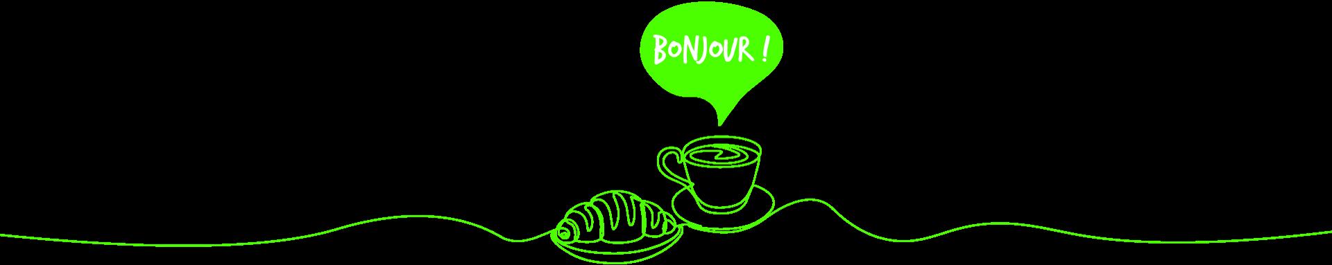 Bonjour - croissant et café