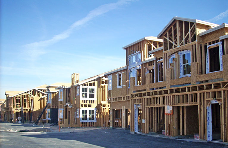 Wood framed 2 story houses under construction