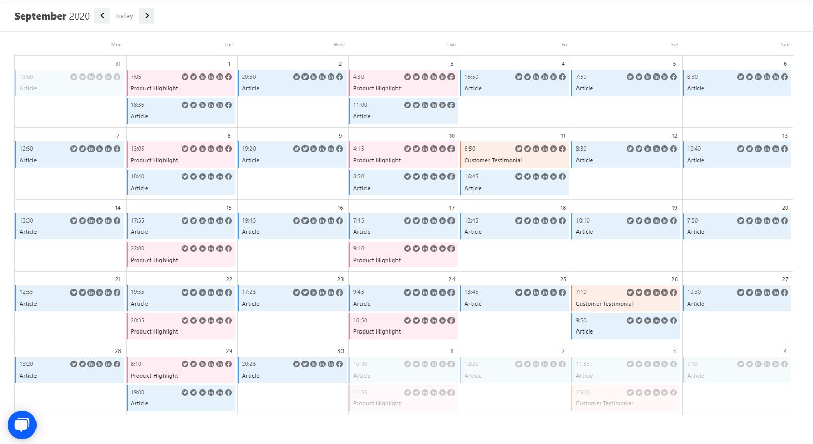 A content calendar in Contento