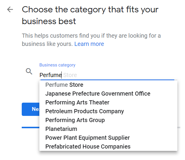 Google My Business category choice example