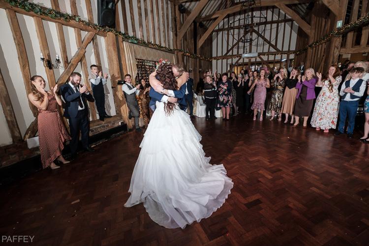 romantic bride and groom dance