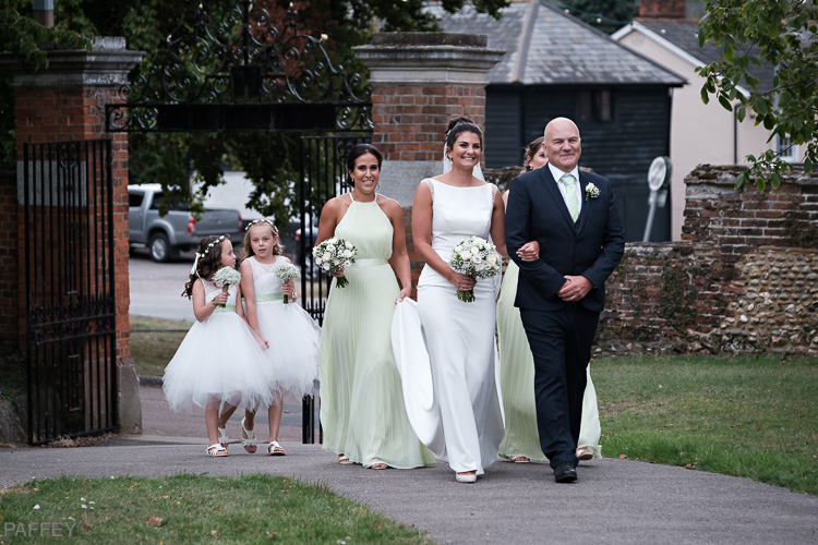 bridal party arriving at the church