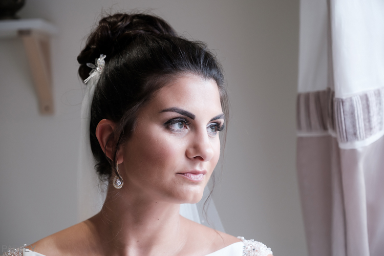 thoughtful looking bride