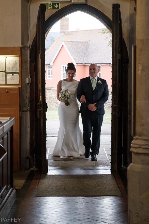 bride with Dad walking into church