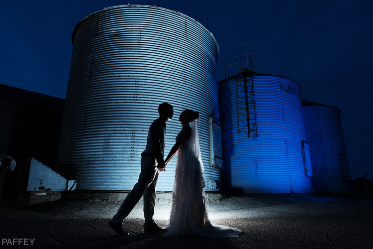 silhouette bride and groom photo