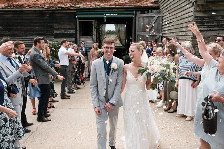 bride and groom confetti shower