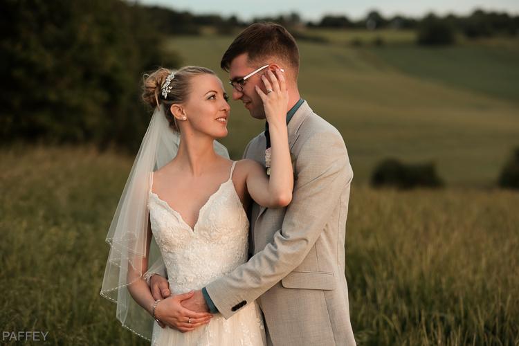loving bride and groom photo