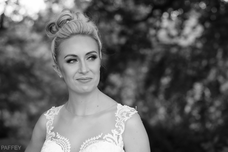 black and white wedding portrait of a bride