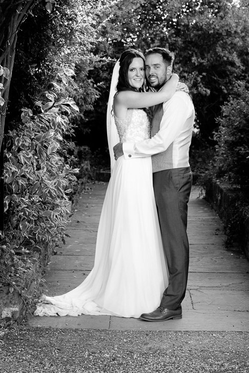 black and white picture of a bride and groom