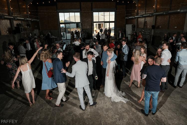 wedding party having a fun dance
