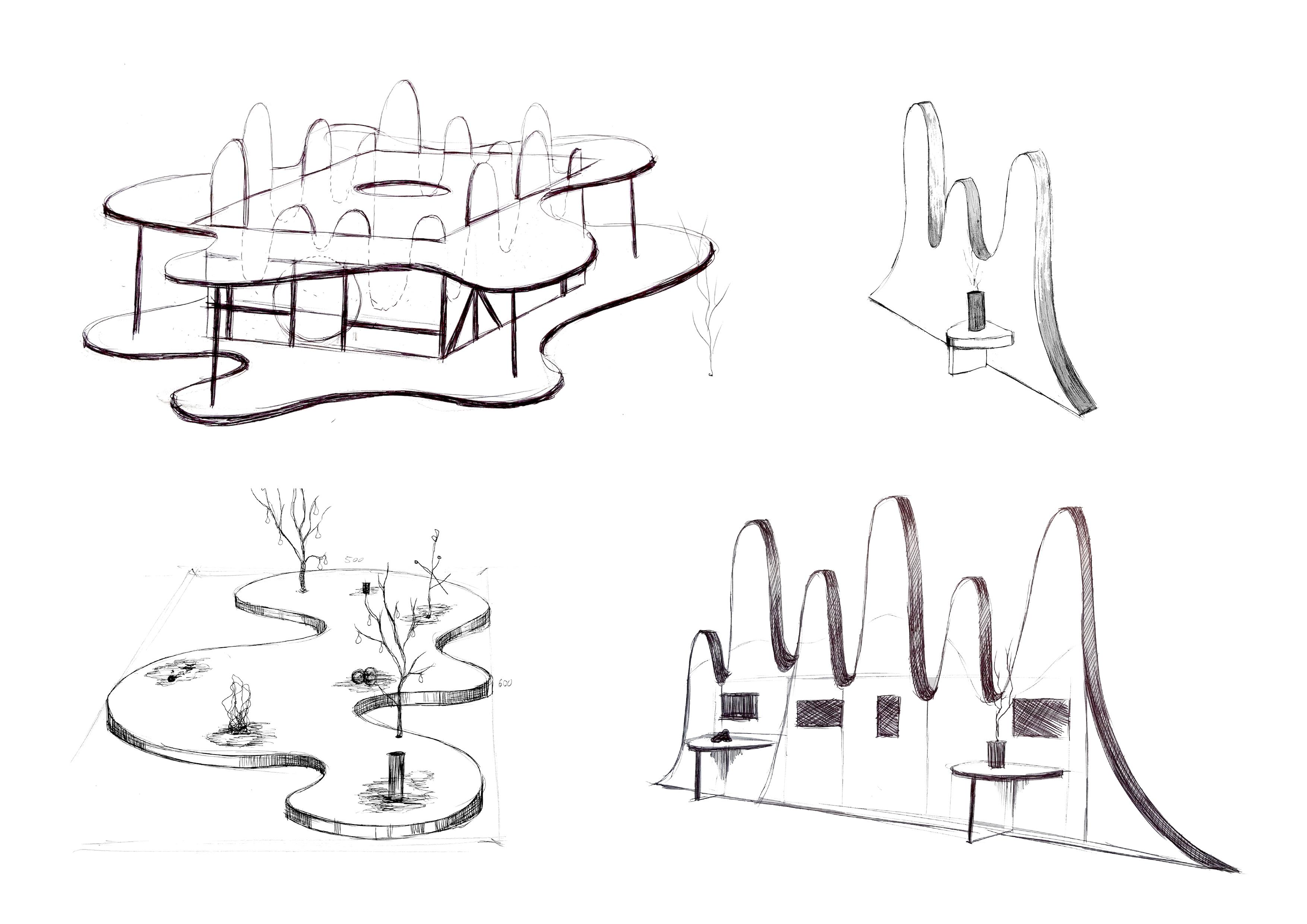 Billedet viser skitser til pavillion og scenografi til udstillingen 'Winterfest'