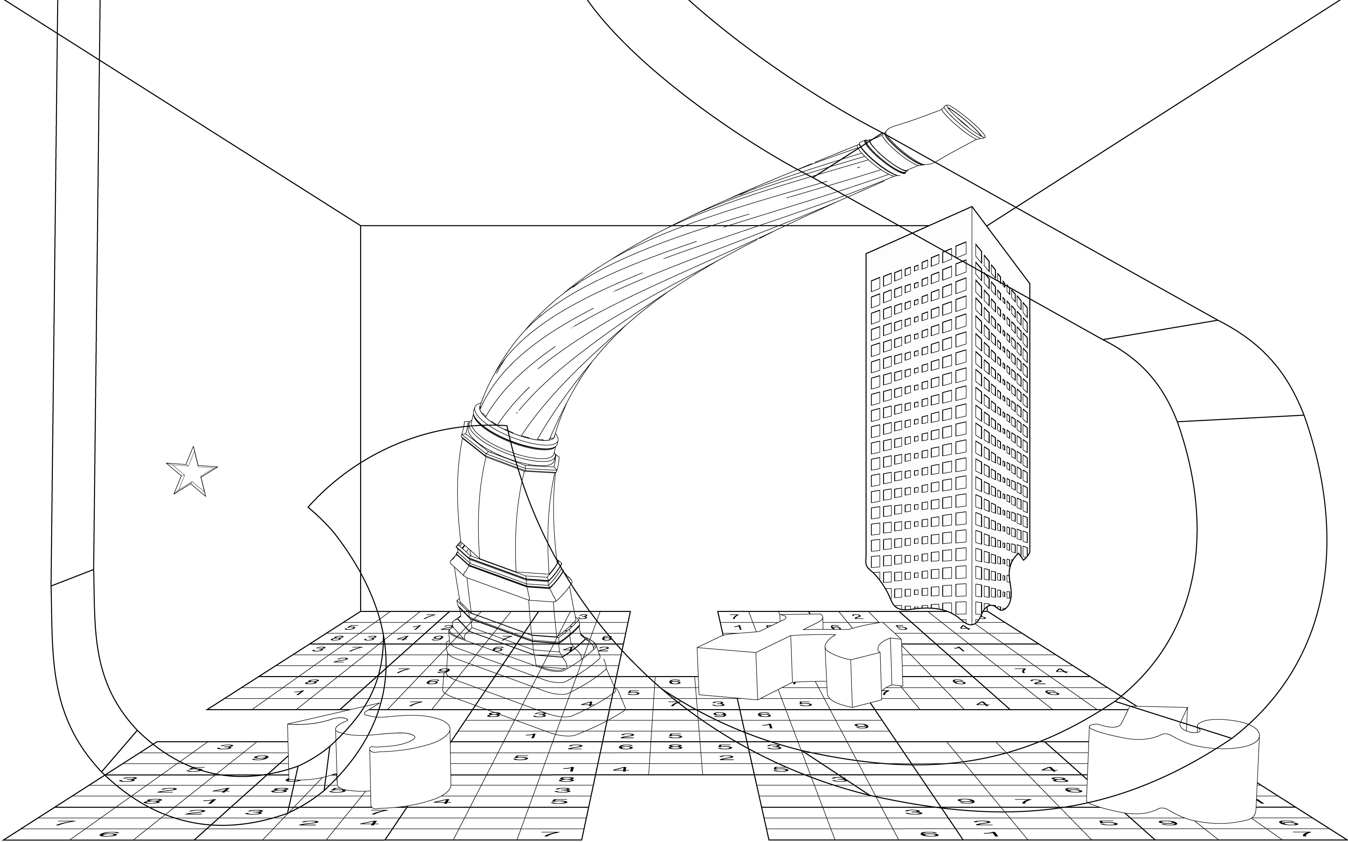Billedet viser tegning 1 i 'Complex Motions'