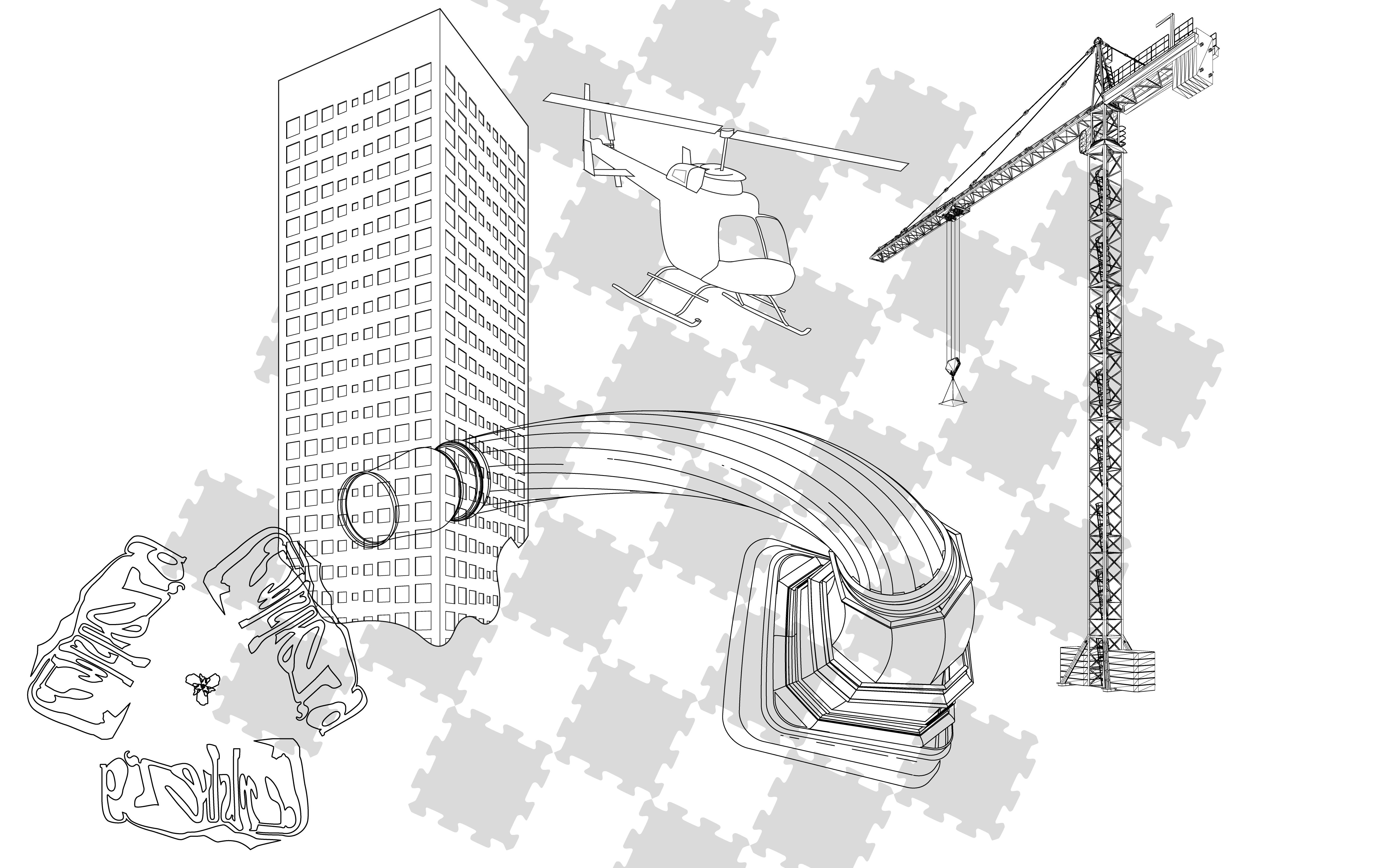 Billedet viser flere af Carlsbergs ikoniske elementer på en børne skum-pusslespilsplade