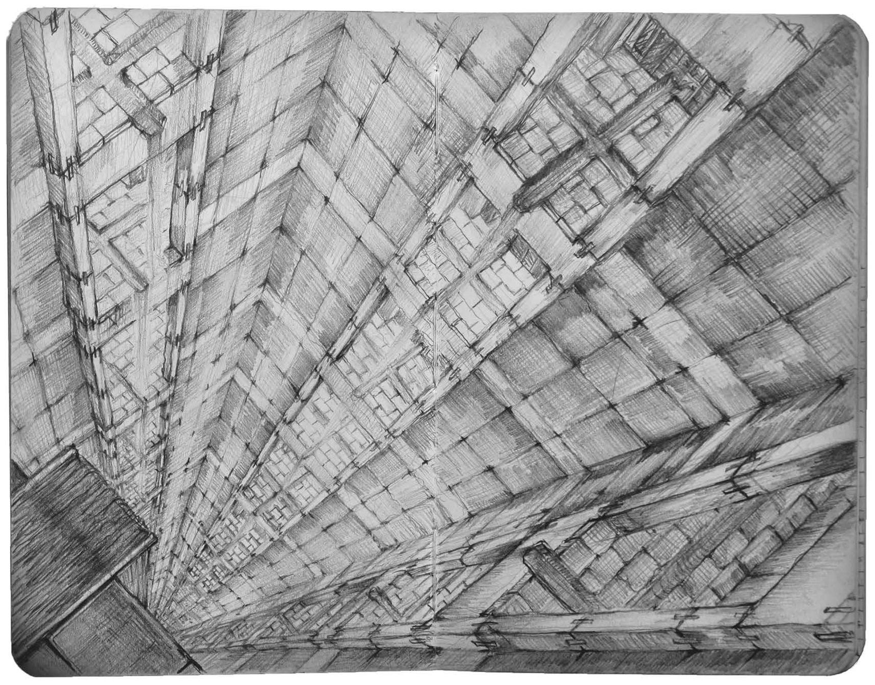 Billedet viser et imaginært uendeligt dybt mellemrum i en skyskraber
