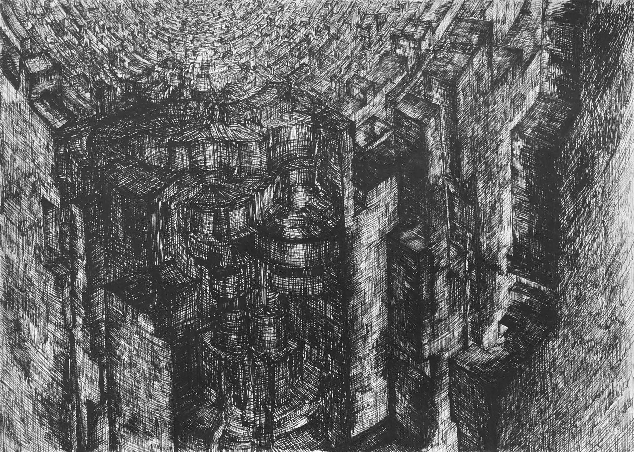 Billedet viser en blyants tegning af uendelige tætte og høje mure