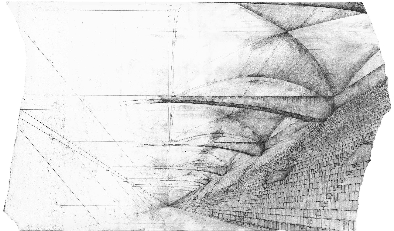 Billedet viser en blyants tegning af en Arena i Medianstrimlen i Ørestaden