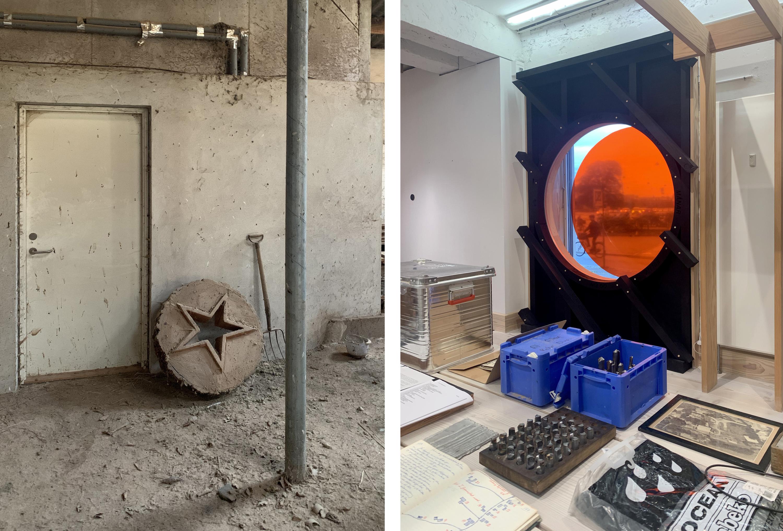 Billedet viser elementer fra værkstedet og udstillingen på Søtorvet
