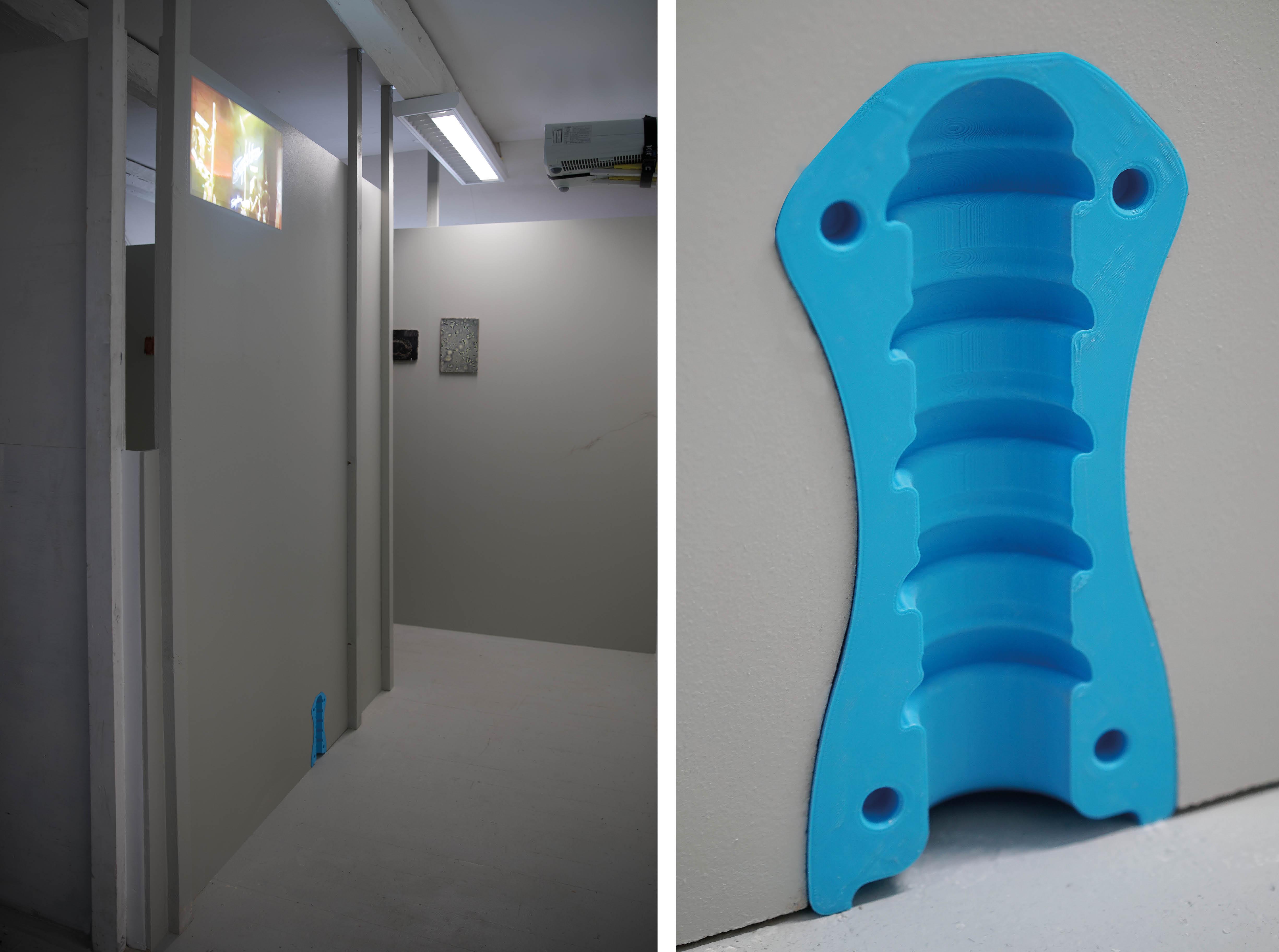 Billedet viser værker og rum fra installationen 'Mutations of Chaotic Desire'