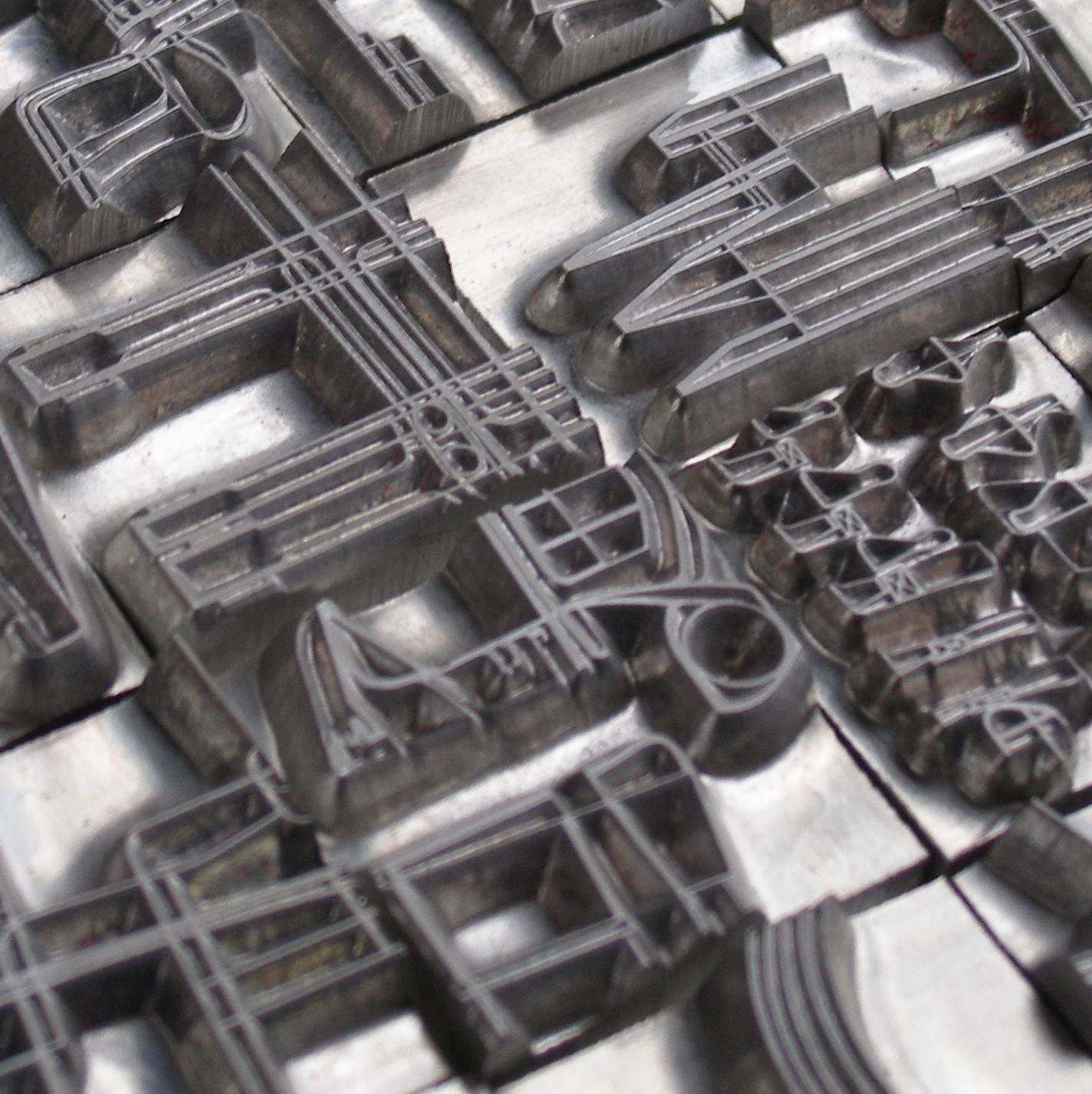 Billedet viser magnesiumstempler, skabt på et trykkeri.