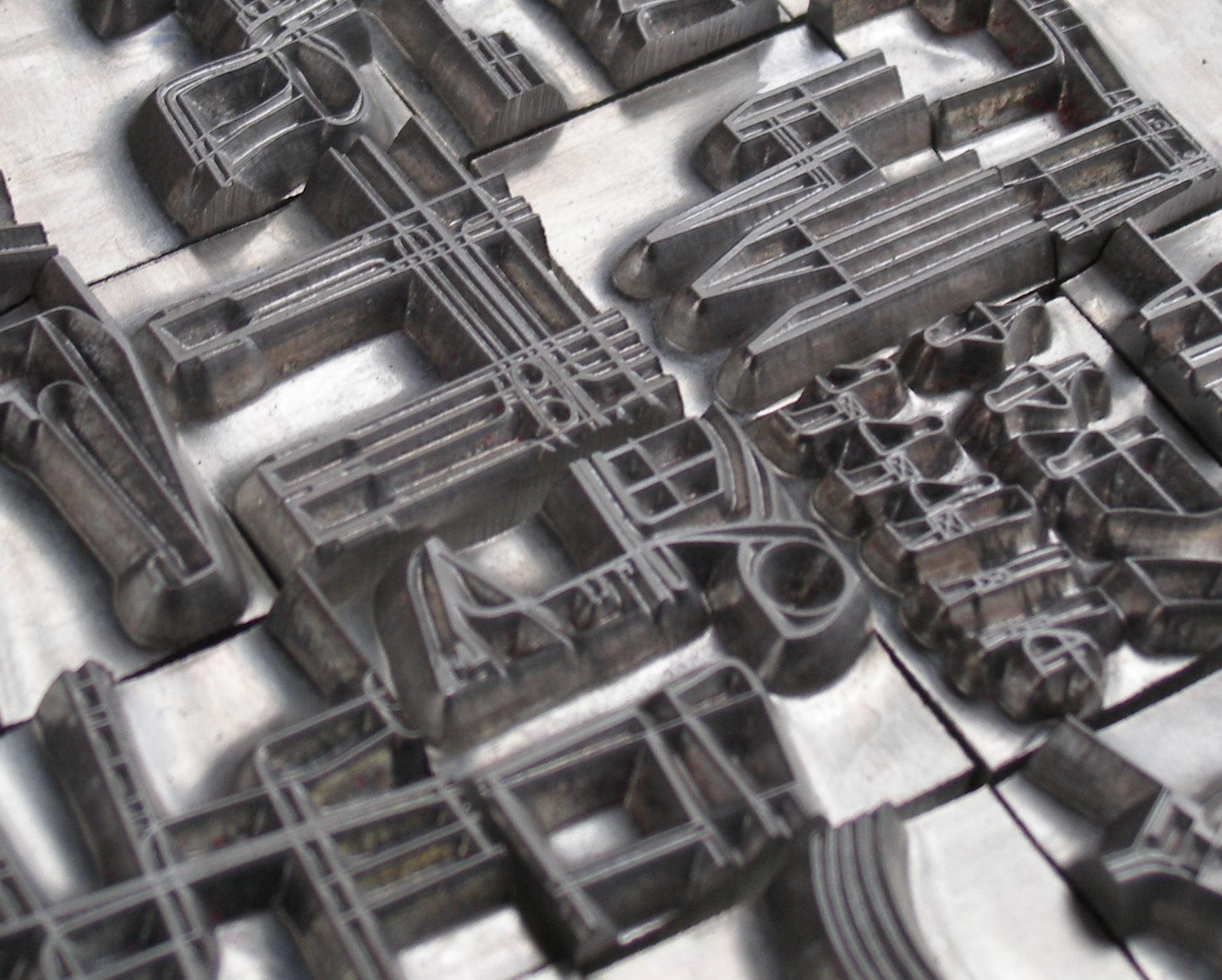 Billedet viser en serie magnesium stempler