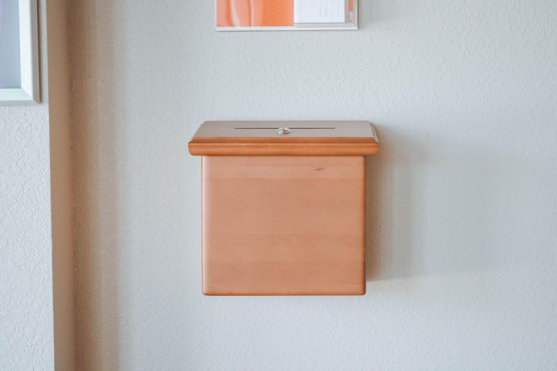 Donation box on wall