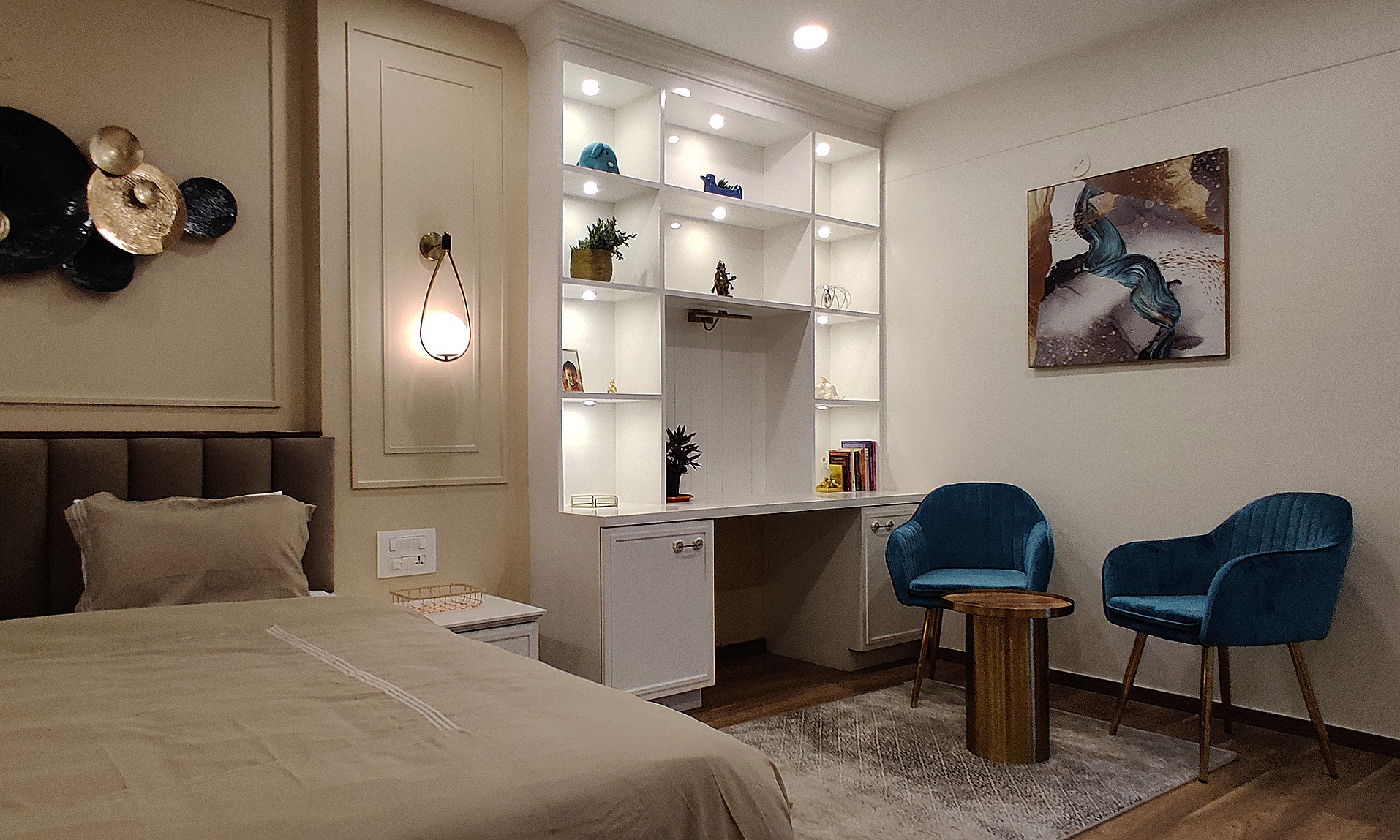 bedroom coffee corner design chair and display storage