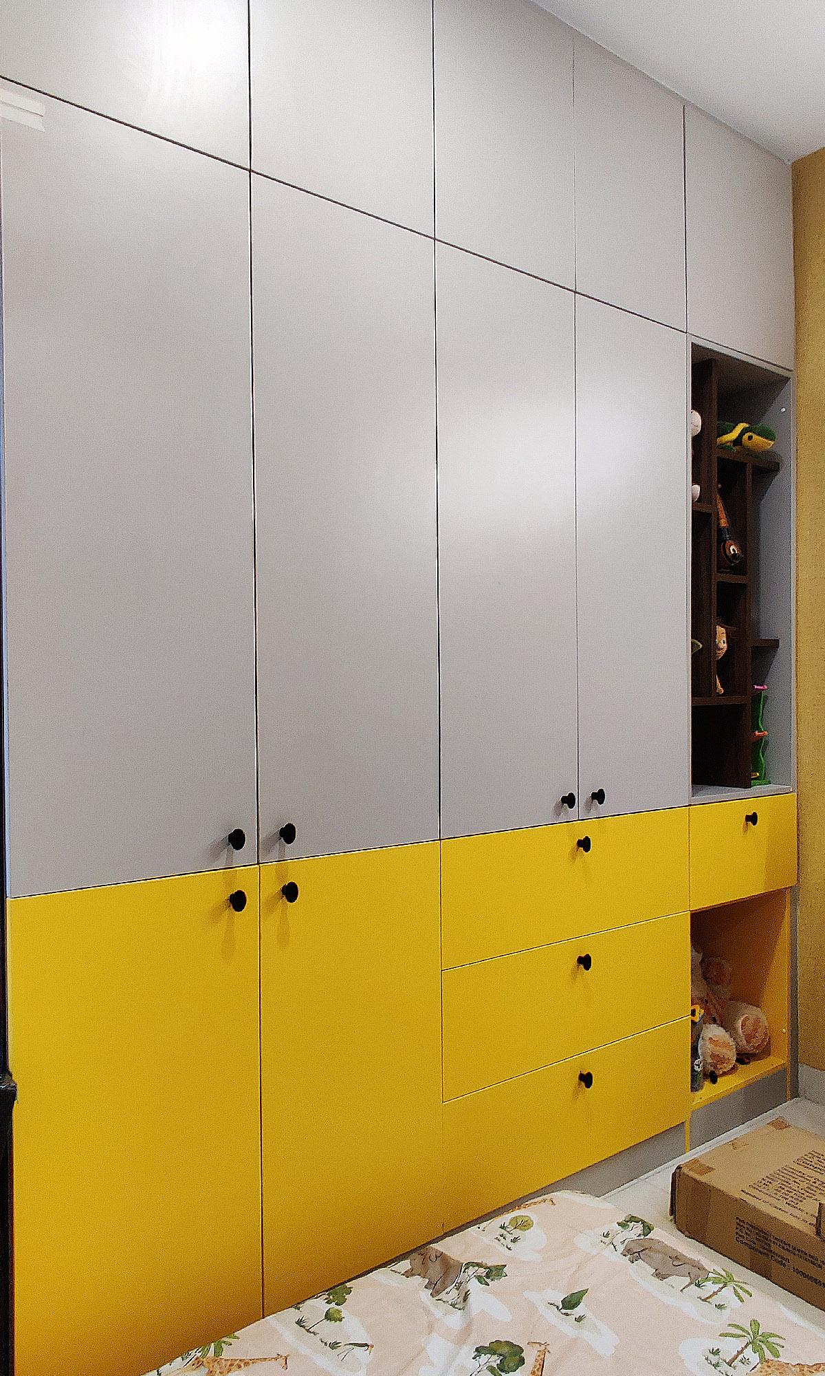 yellow and grey kids room wardrobe