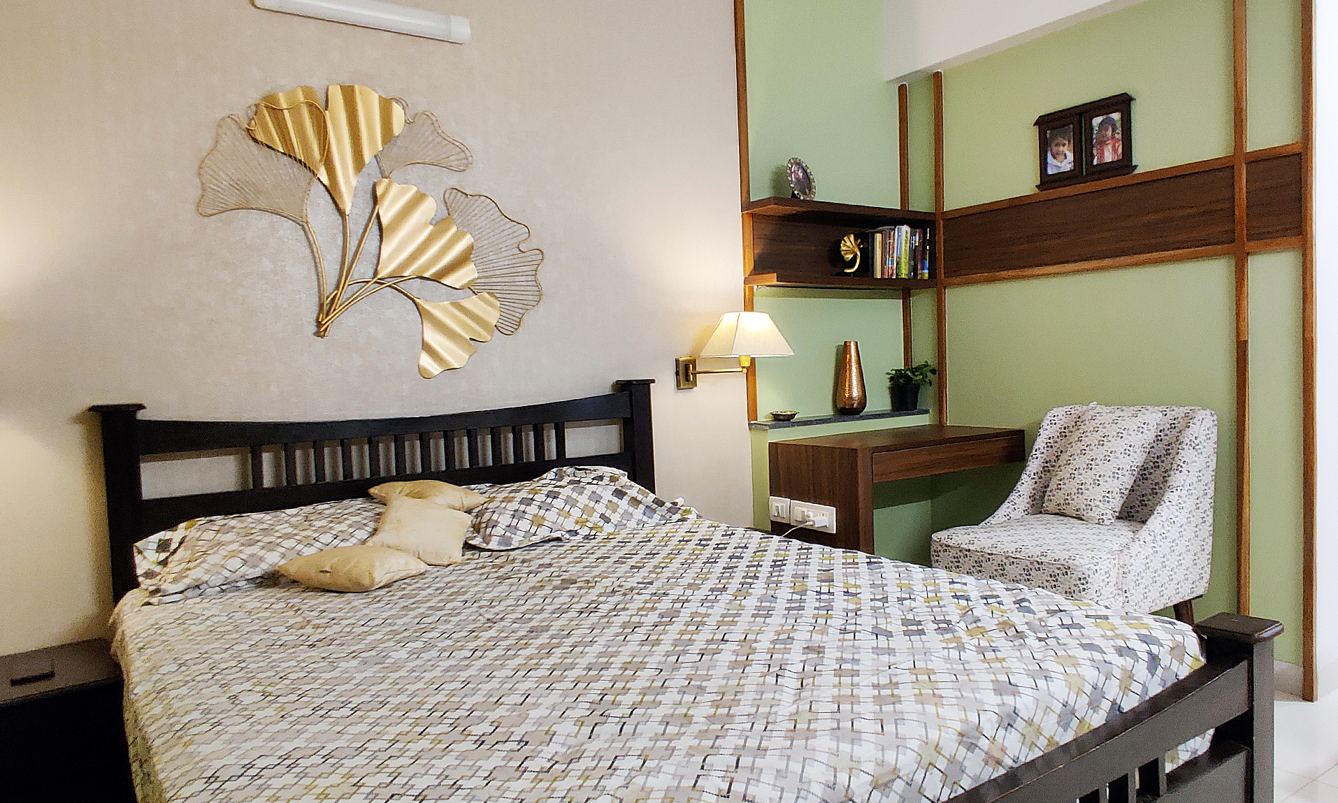 parents bedroom in olive green and solid wood bedbed