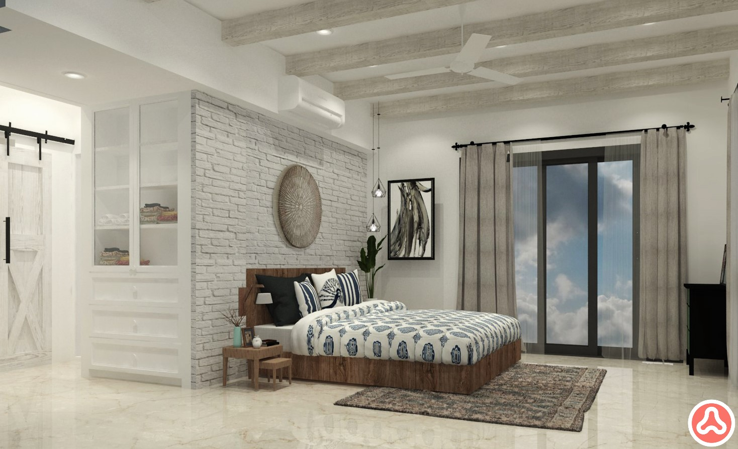 Stone cladding in white for an apartment master bedroom