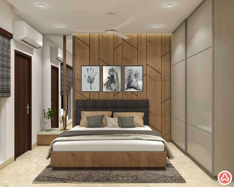 5bhk villa master bedroom with wardrobe and veneer paneling in century play