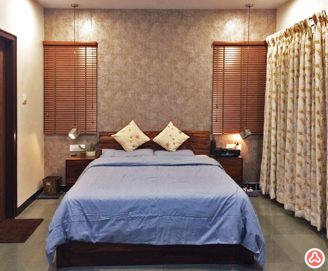 4bhk apartment guest bedroom with a bed and wall paper, windows with venetian blinds
