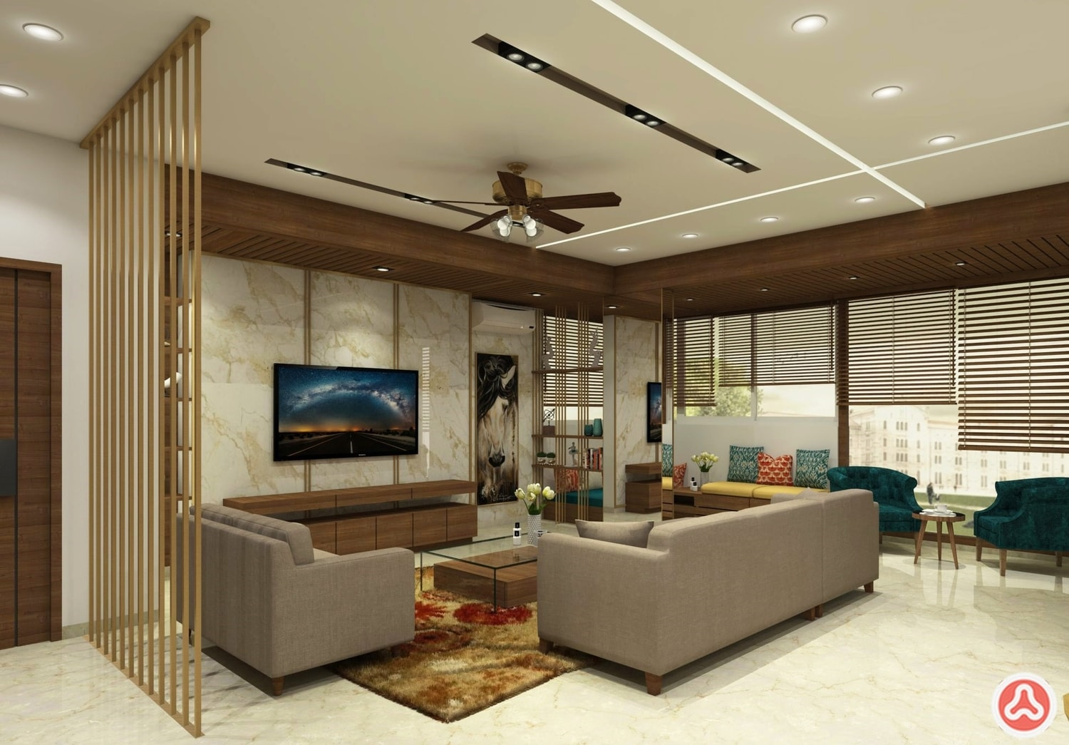 House Living room design, with sofa and solid wood beading
