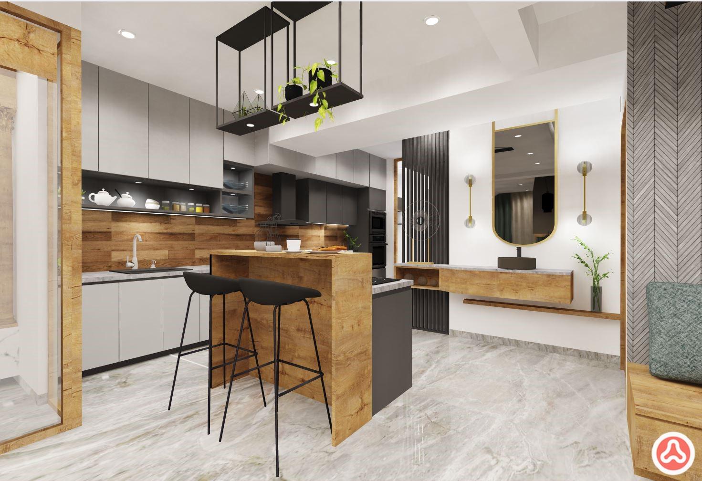 Villa in Bangalore kitchen breakfast counter, kitchen with backsplash tiles in wood
