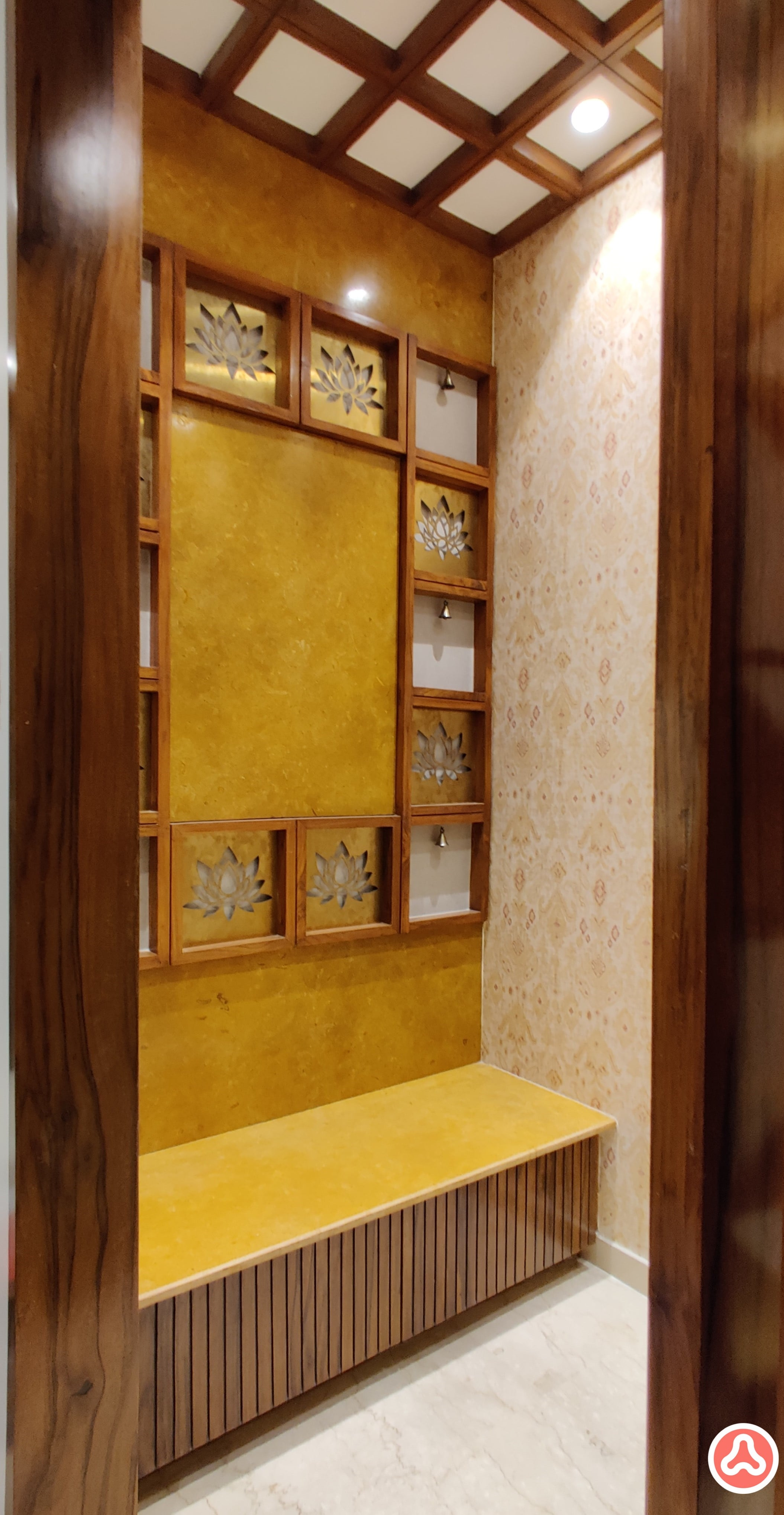 pooja room design in marble and wood