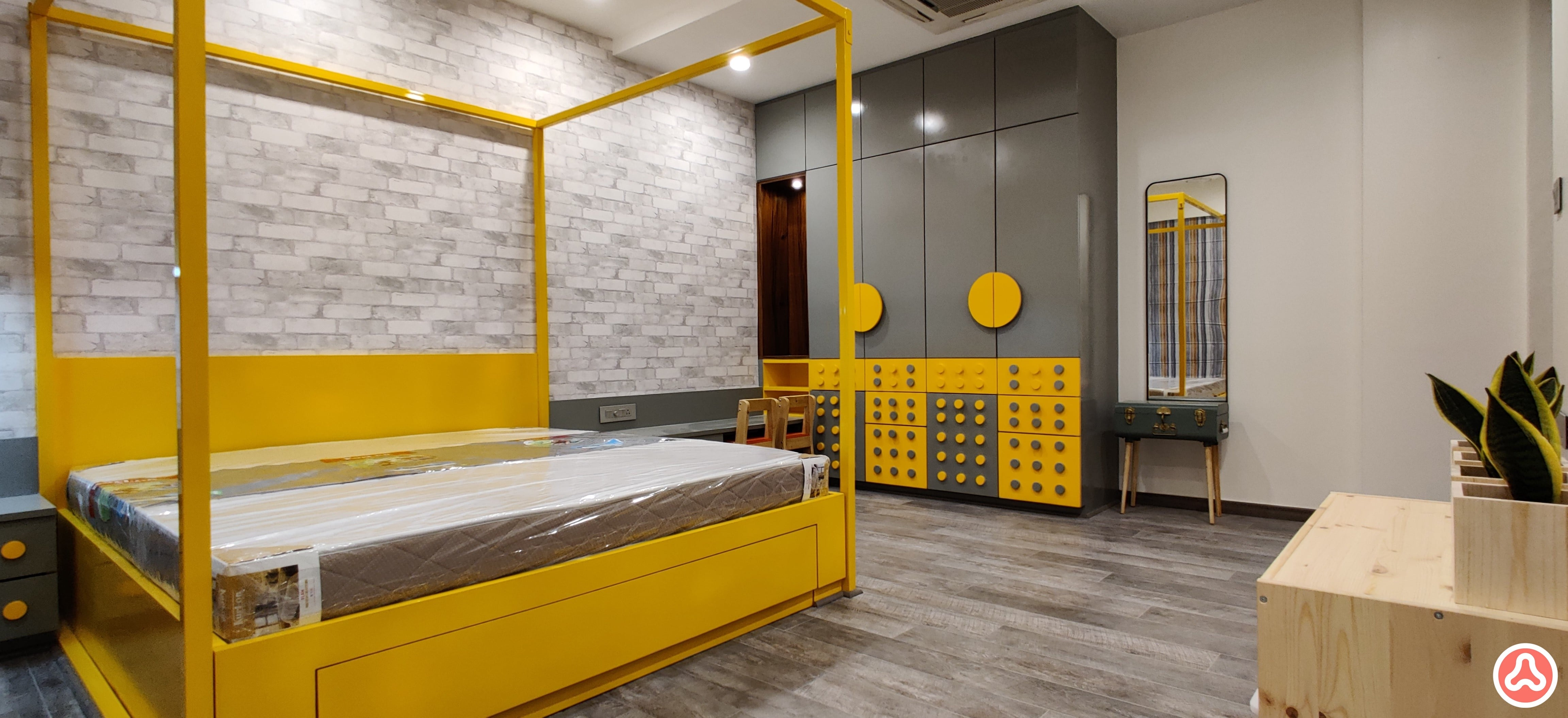 Kids bedroom in yellow lego themed