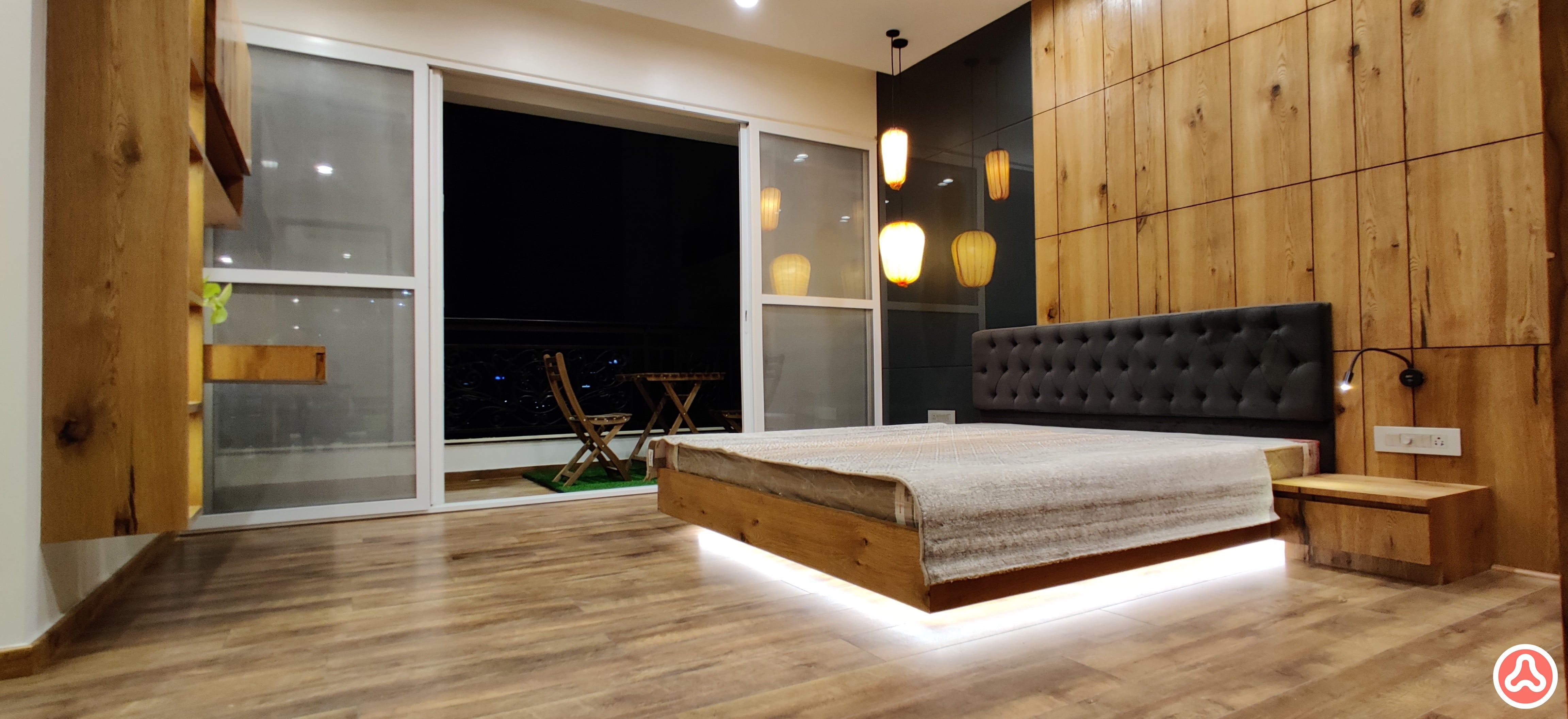 master bedroom design in veneer and droplights in the corner