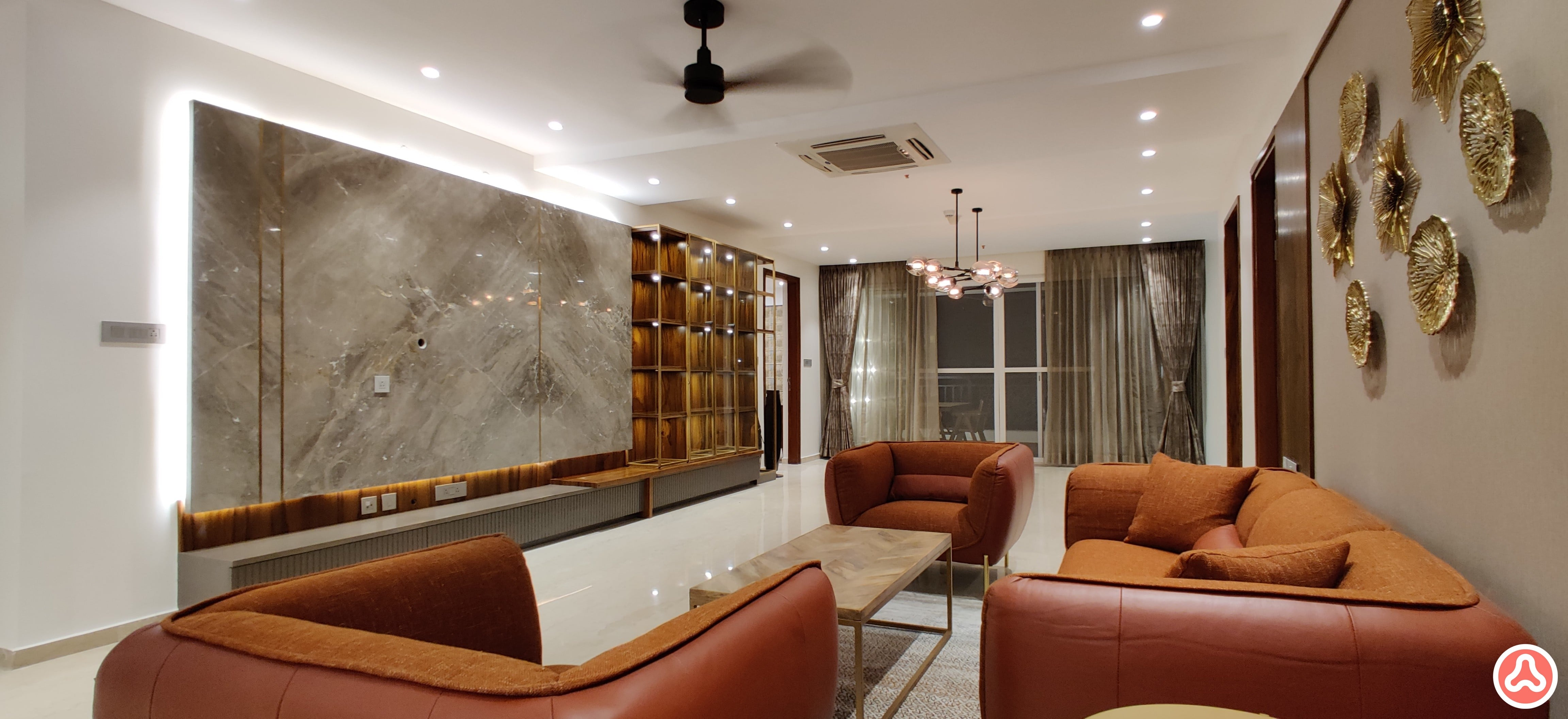 Leather sofa in brick red, Italian marble wall