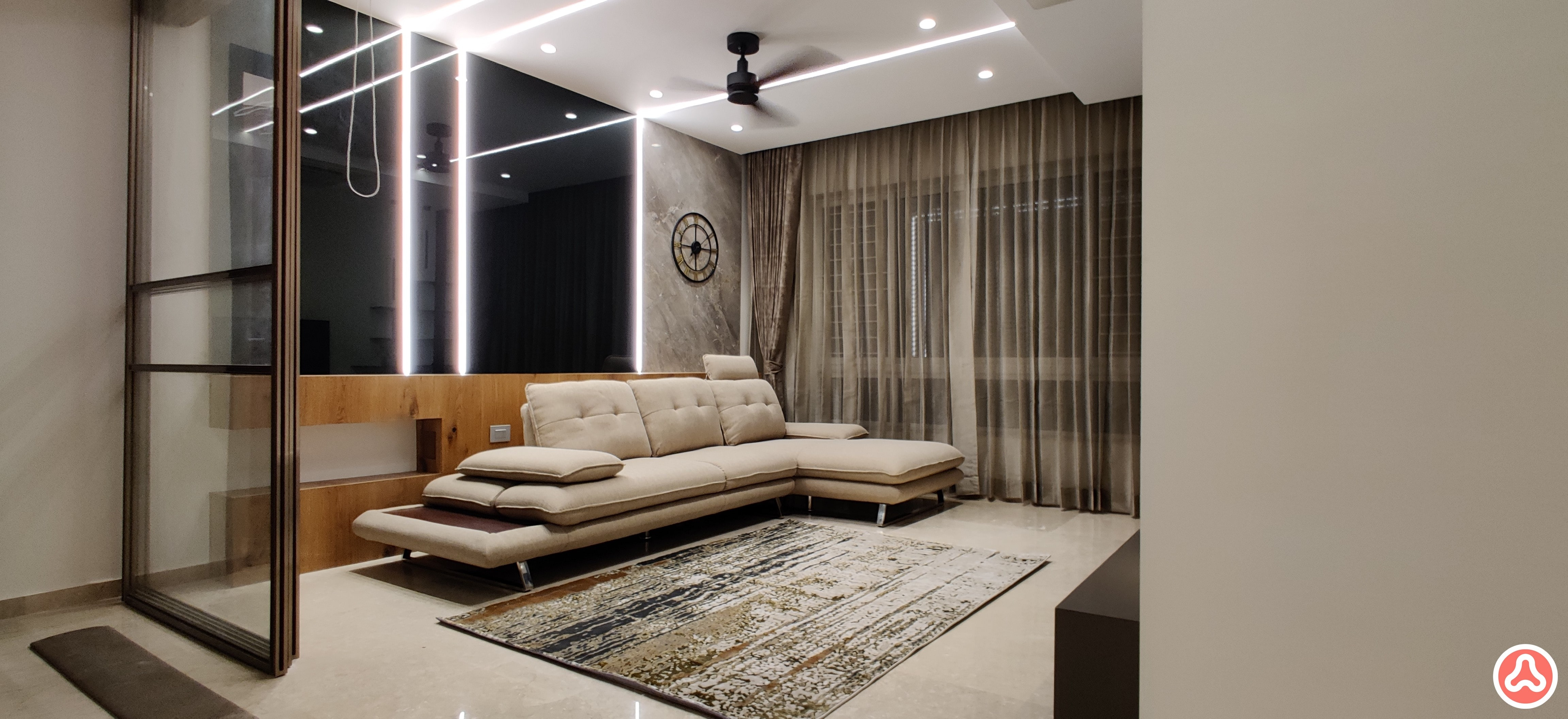 room designed in lacquer glass and light strip