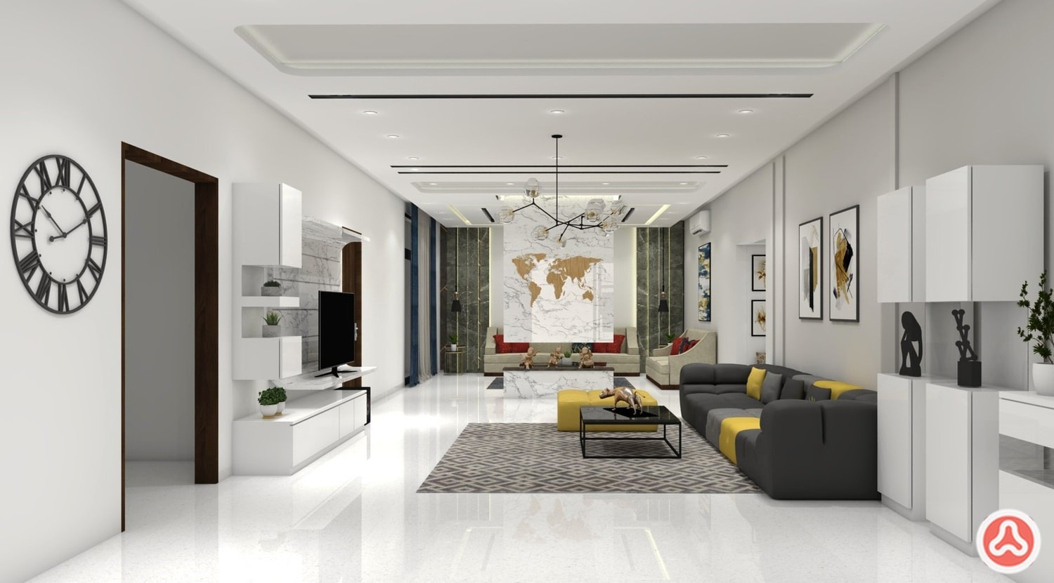 Living room in white theme and contemporary tv unit, making the villa contemporary