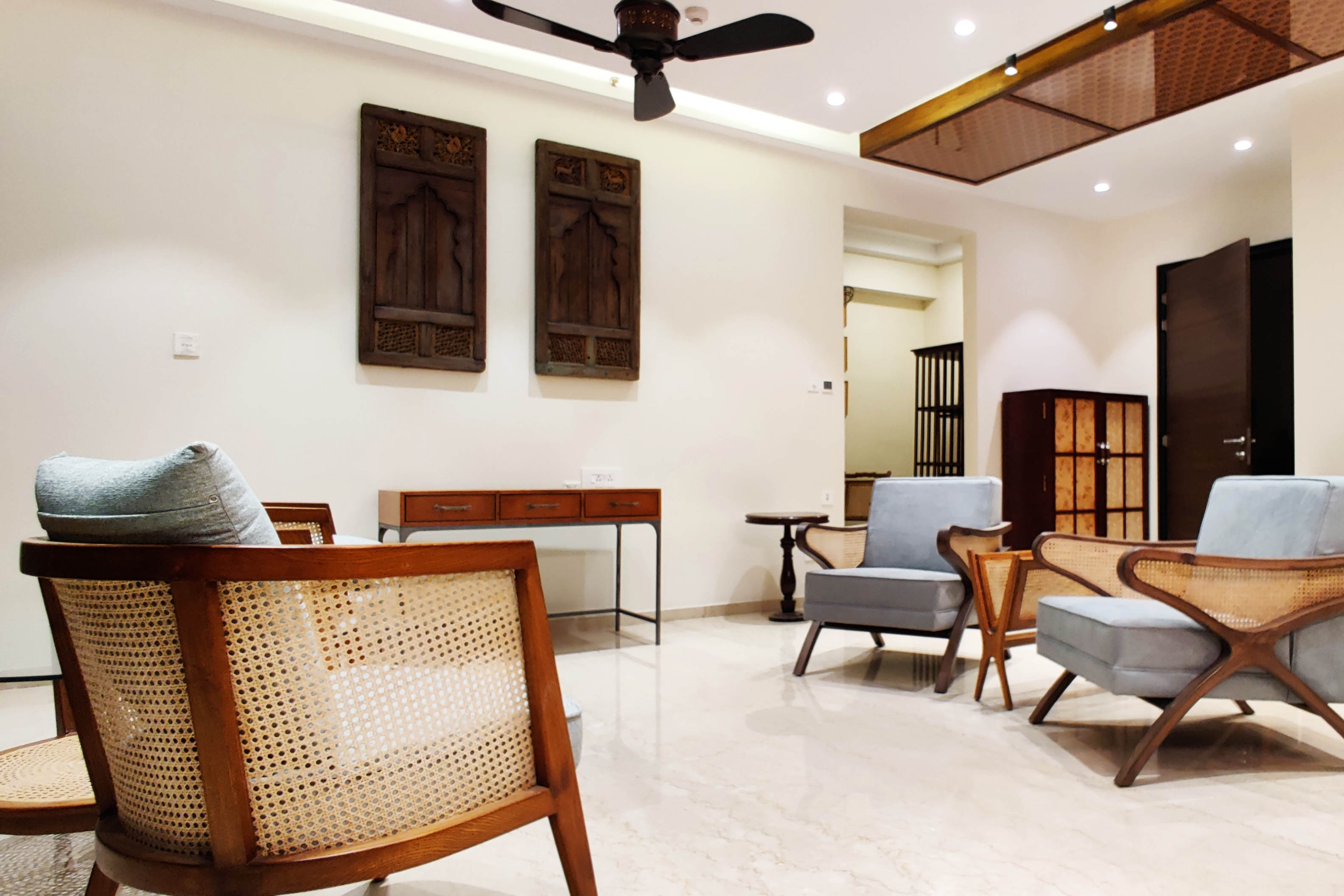 Tradition furniture in a luxurious living room, for the 5bhk apartment in J.P. nagar bangalore